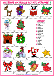 Christmas ESL Vocabulary Matching Exercise Worksheets