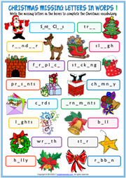 Christmas ESL Missing Letters In Words Exercise Worksheets
