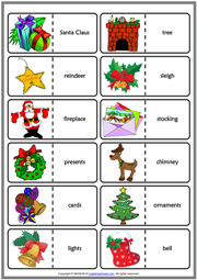 Christmas ESL Printable Dominoes Game For Kids