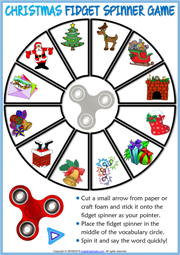 Christmas ESL Printable Fidget Spinner Game For Kids