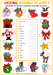 Christmas ESL Unscramble the Words Worksheets For Kids