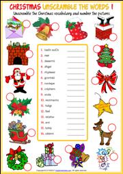 Christmas ESL Printable Vocabulary Worksheets
