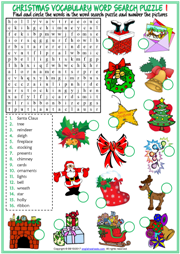photo regarding Christmas Word Search Puzzles Printable referred to as Xmas ESL Printable Vocabulary Worksheets