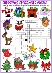Christmas ESL Printable Crossword Puzzle Worksheets