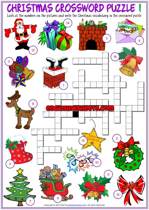 Christmas Esl Printable Crossword Puzzle Worksheets