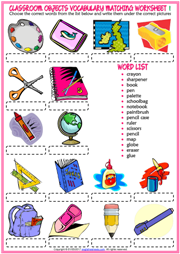 Classroom Objects ESL Matching Exercise Worksheets