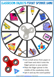 Classroom Objects ESL Printable Fidget Spinner Game