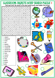 Classroom Objects ESL Printable Word Search Puzzle Worksheets