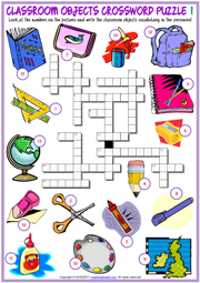 Classroom Objects ESL Crossword Puzzle Worksheets