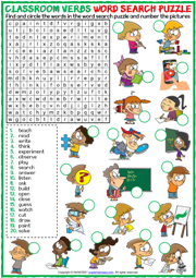 Classroom Verbs ESL Printable Word Search Puzzle Worksheet