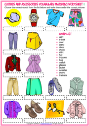 Clothes and Accessories ESL Matching Exercise Worksheets