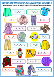 Clothes and Accessories Missing Letters In Words Worksheets