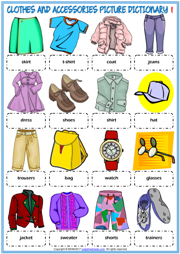 Clothes and Accessories ESL Picture Dictionary Worksheets