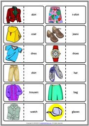 Clothes and Accessories ESL Printable Dominoes Game