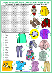 Clothes and Accessories ESL Word Search Puzzle Worksheets