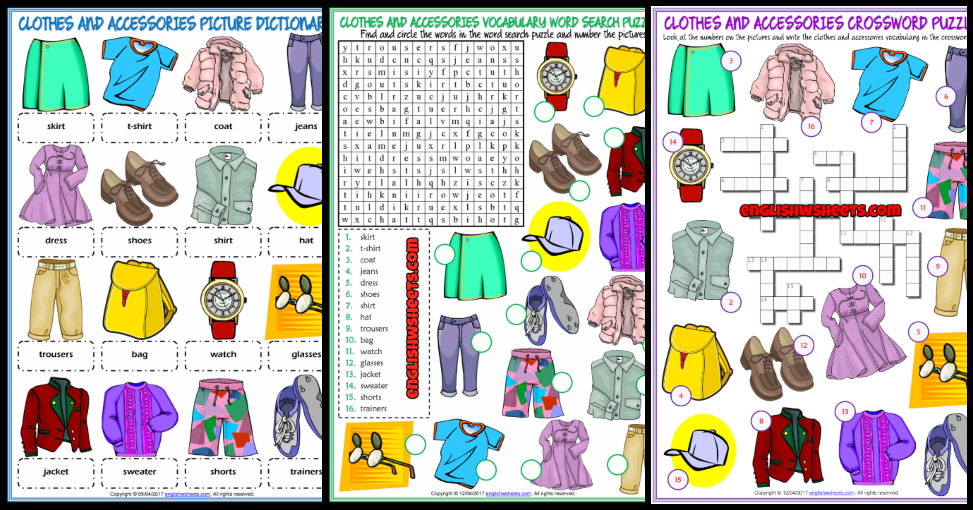Clothes And Accessories Esl Vocabulary Worksheets