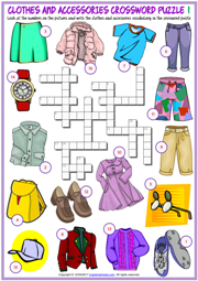 Clothes and Accessories ESL Crossword Puzzle Worksheets