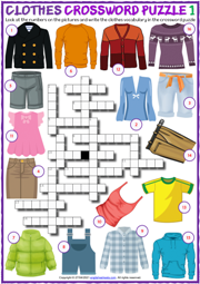 Clothes ESL Crossword Puzzle Worksheets