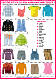 Clothes ESL Matching Exercise Worksheets