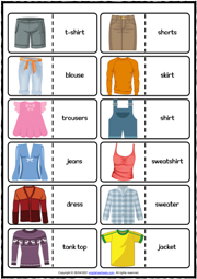 Clothes ESL Printable Dominoes Game For Kids