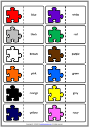 Colours ESL Printable Dominoes Game For Kids