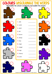 Colours ESL Printable Unscramble the Words Worksheet