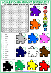 Colours ESL Printable Word Search Puzzle Worksheet