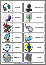 Computer Parts ESL Printable Dominoes Game For Kids