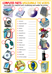 Computer Parts ESL Printable Worksheets and Exercises