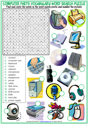 Computer Parts ESL Word Search Puzzle Worksheet For Kids