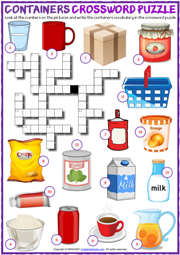 Containers ESL Crossword Puzzle Worksheet for Kids
