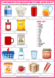 Containers ESL Vocabulary Matching Exercise Worksheet