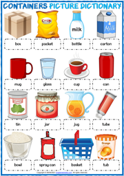 Containers ESL Printable Picture Dictionary For Kids