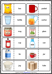 Containers ESL Printable Dominoes Game For Kids
