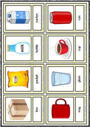 Containers ESL Printable Vocabulary Learning Cards
