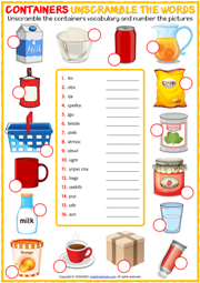 Containers ESL Unscramble the Words Worksheet