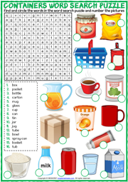 Containers ESL Word Search Puzzle Worksheet For Kids