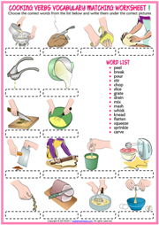 Cooking verbs worksheet esl