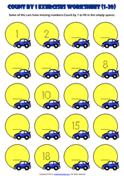 Counting Forward by 1 from 1 to 20 Exercises Worksheet