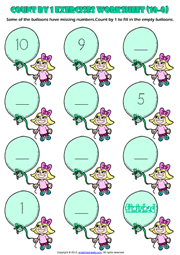 counting numbers by 1 and 2 printable maths worksheets and exercises. Black Bedroom Furniture Sets. Home Design Ideas