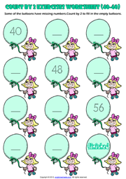 Counting Forward by 2 from 40 to 60 Exercises Worksheet