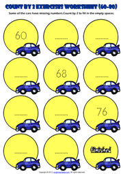 Counting Forward by 2 from 60 to 80 Exercises Worksheet