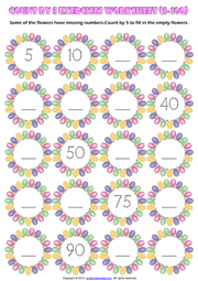 Counting Forward by 5 from 5 to 100 Exercise Worksheet