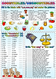Much and Many ESL Printable Worksheets and Exercises