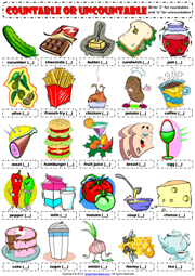 Countables and Uncountables ESL Printable Worksheets and Exercises