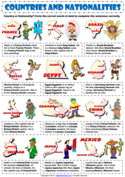Countries And Nationalities ESL Exercise Worksheet For Kids