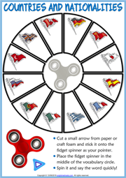 Countries And Nationalities ESL Printable Fidget Spinner Game