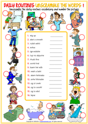 Daily Routines Esl Vocabulary Worksheets