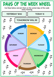 graphic regarding Printable Days of the Week identify Times of the 7 days ESL Printable Vocabulary Worksheets