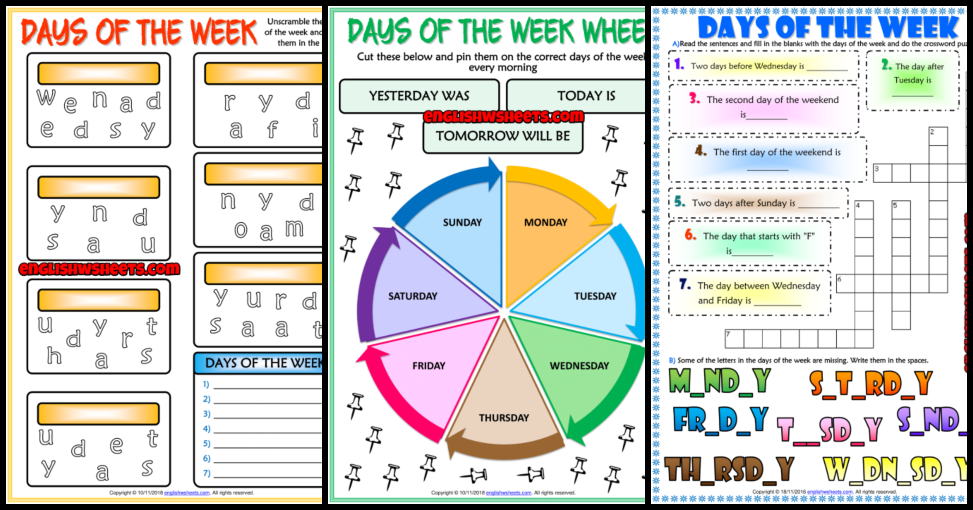 Days Of The Week ESL Printable Vocabulary Worksheets